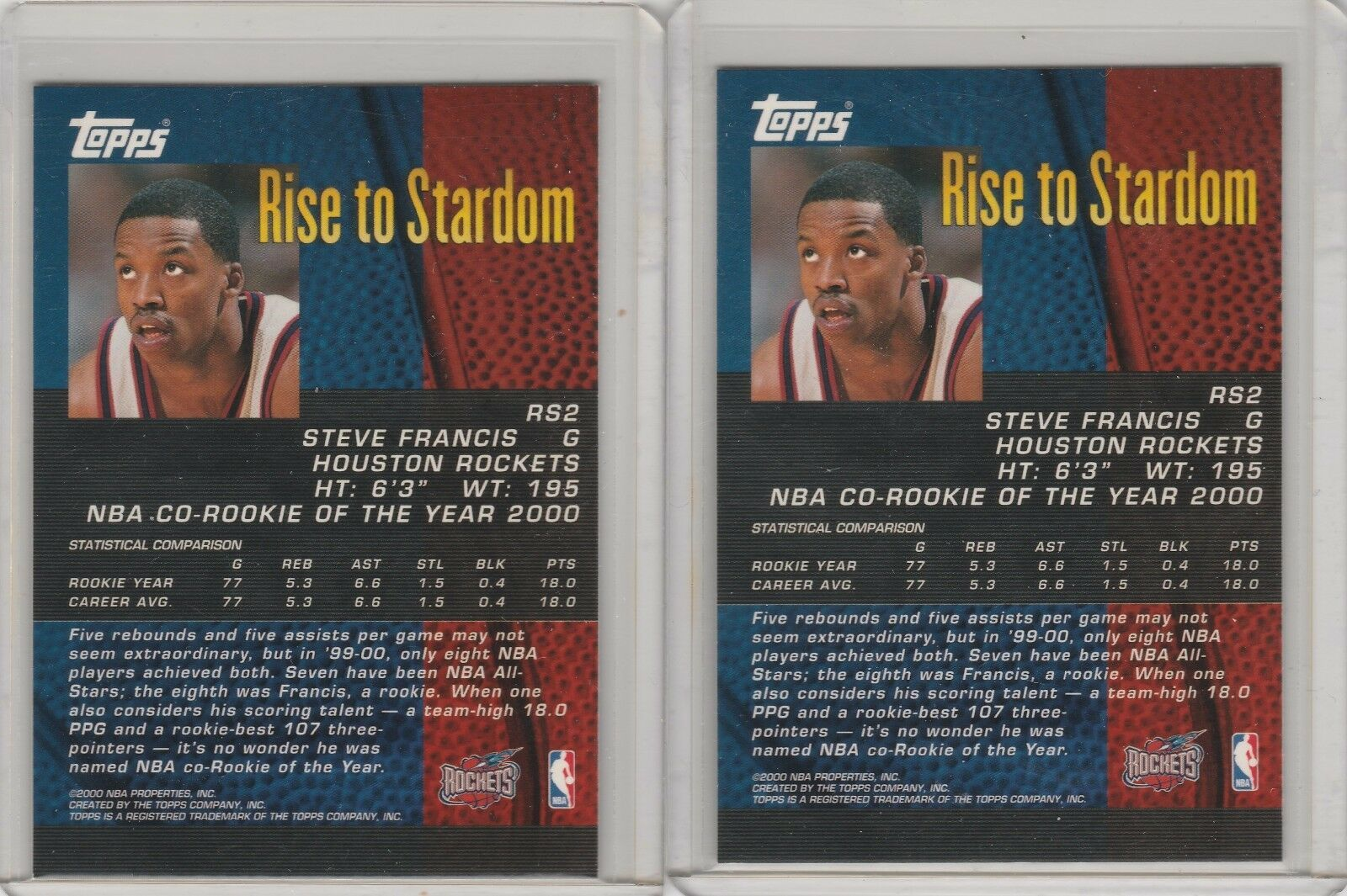 2000-01 Topps - Rise to Stardom #RS2 Steve Francis Lot of 2