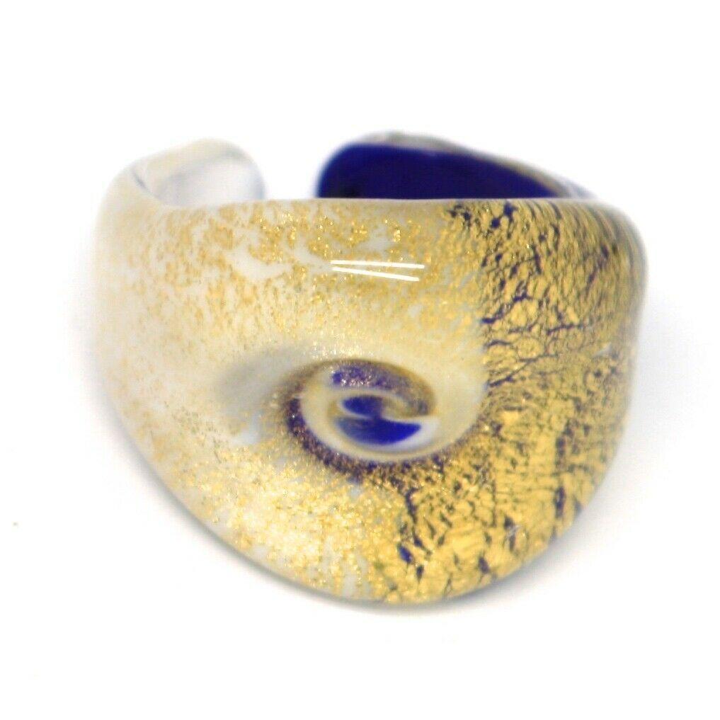 Ring Antique Murrina, Murano Glass, Leaf Golden, Blue White, Eye