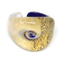 Ring Antique Murrina, Murano Glass, Leaf Golden, Blue White, Eye image 1