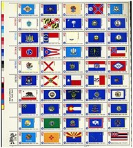 USPS 1976 State Flags - Full Sheet of 50 x 13 Cent Stamps - Scott 1633-82 - $10.25