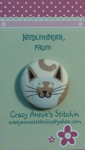 Cat Gray Brown Needleminder fabric cross stitch needle accessory - $7.00