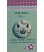 Cat Gray Brown Needleminder fabric cross stitch... - $7.00
