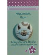 Cat Gray Brown Needleminder fabric cross stitch needle accessory - $7.00