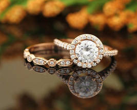 1.70 ctw 14K Rose Gold Over .925 Silver D/VVS1 Diamond Engagement Halo Ring Set - $114.39