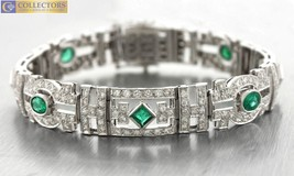 Ladies Vintage Art Deco 18K White Gold 4.38ctw Diamond Emerald Bracelet - $4,999.98