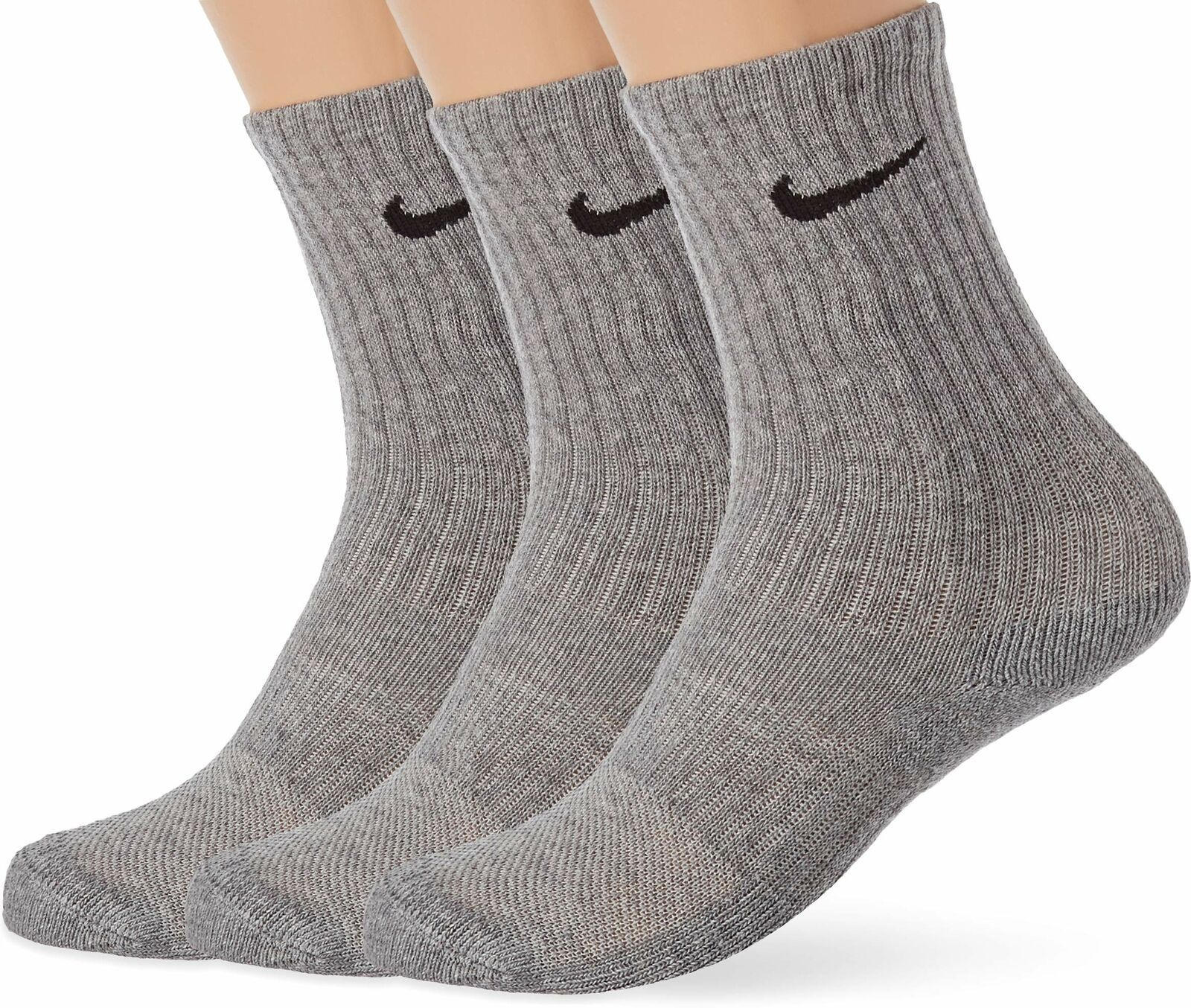 Primary image for Nike Youth 3PK Performance Cushioned Crew Socks Heather Gray 5Y-7Y SX6842-063