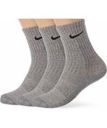 Nike Youth 3PK Performance Cushioned Crew Socks Heather Gray 5Y-7Y SX684... - $22.99