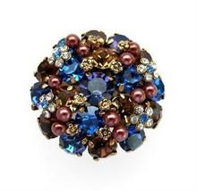 Vintage Austrian Rhinestone Flower Cluster Brooch / Pin - $46.00