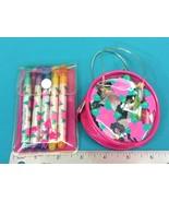 Vintage Sanrio Pink Flower Vinyl Zipper Carrying Case Scented Markers Se... - $31.95
