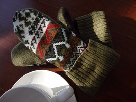 Wool Sweater mittens Handmade  one size fits most - $25.91