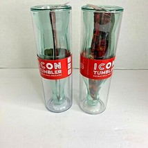Icon Tumbler Double Wall Insulated 14 oz Upside Coca Cola Inside Lot of 2 - $14.01