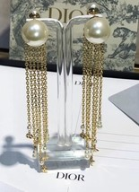 NEW AUTH Christian Dior 2020 DOUBLE PEARL EARRINGS GOLD DANGLE MULTI STRAND image 8