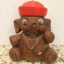 Vintage California Original I Love You Elephant Sailor Ceramic Cookie Jar - $32.89