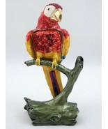 "Bejeweled Scarlet Macaw Parrot Hinged Trinket Jewelry Box Jeweled Enameled 4.25"" - $130.68"