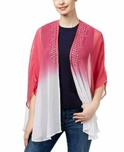 Steve Madden Sequined Sheer Kimono Shawl Wrap Cover-Up, Pink White Ombre - $13.86