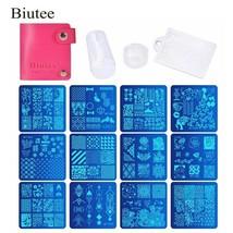Biutee 12 Pcs Nail Manicure Plates +1 Polish Stamper + 1 Scraper Set Nai... - $12.55