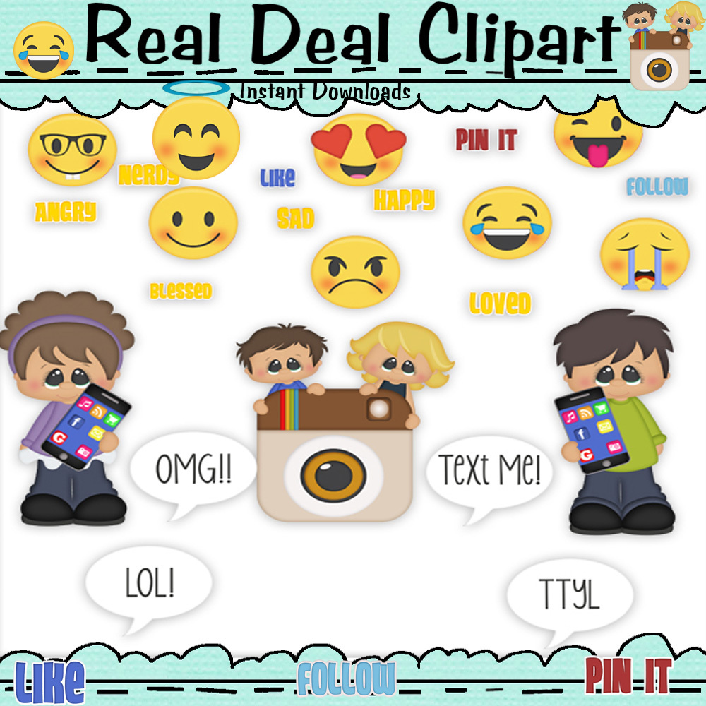 Social Media Clip Art - So Cute From Real Deal Clipart.    If you use social media of any kind this is a must have clipart. Commercial or personal use clip art set perfect for card making, scrapbooking, craft projects, diy birthday invitations and party favors it's unlimited what you can do.