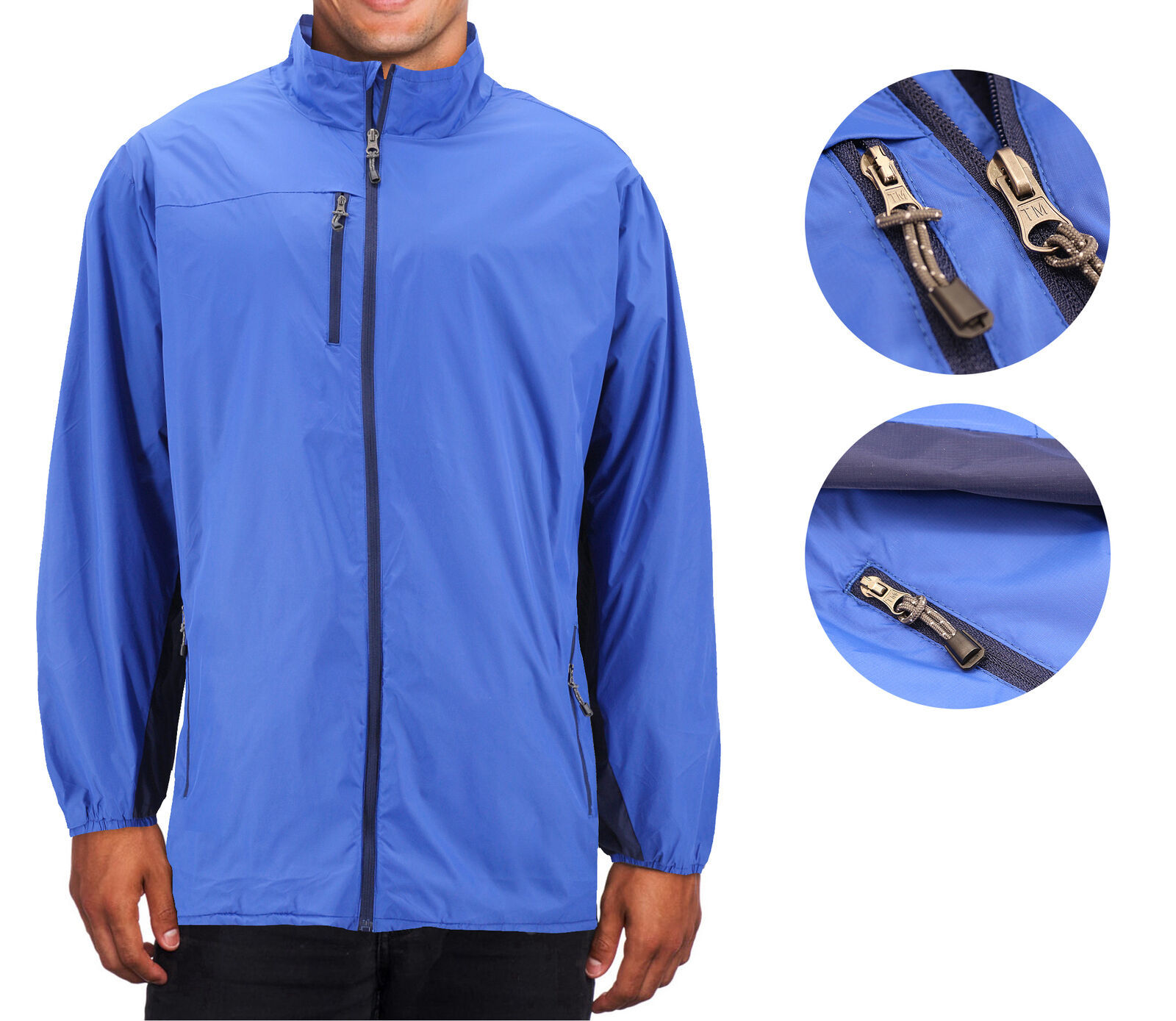 Men's Water Resistant Two Toned Windbreaker Zipper Nylon Rain Jacket