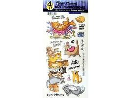 "Art Impressions Clear Acrylic Cling Stamp Set ""Feline Set"" #5385"