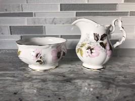 Royal Albert Creamer and Sugar Bowl Pink Flowers Gold Trim Set of 2 - $20.57