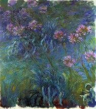 Jewelry lilies by Monet - 24x32 inch Canvas Wall Art Home Decor - $51.99