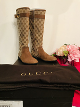 Authentic Gucci Boots Gg Logo Size 37 Made In Italy (Dust Bag And Original Box) - $499.00