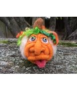 UNIQUE Needle felted Old Face Pumpkin figurine- OOAK - Halloween decor-p... - $50.00