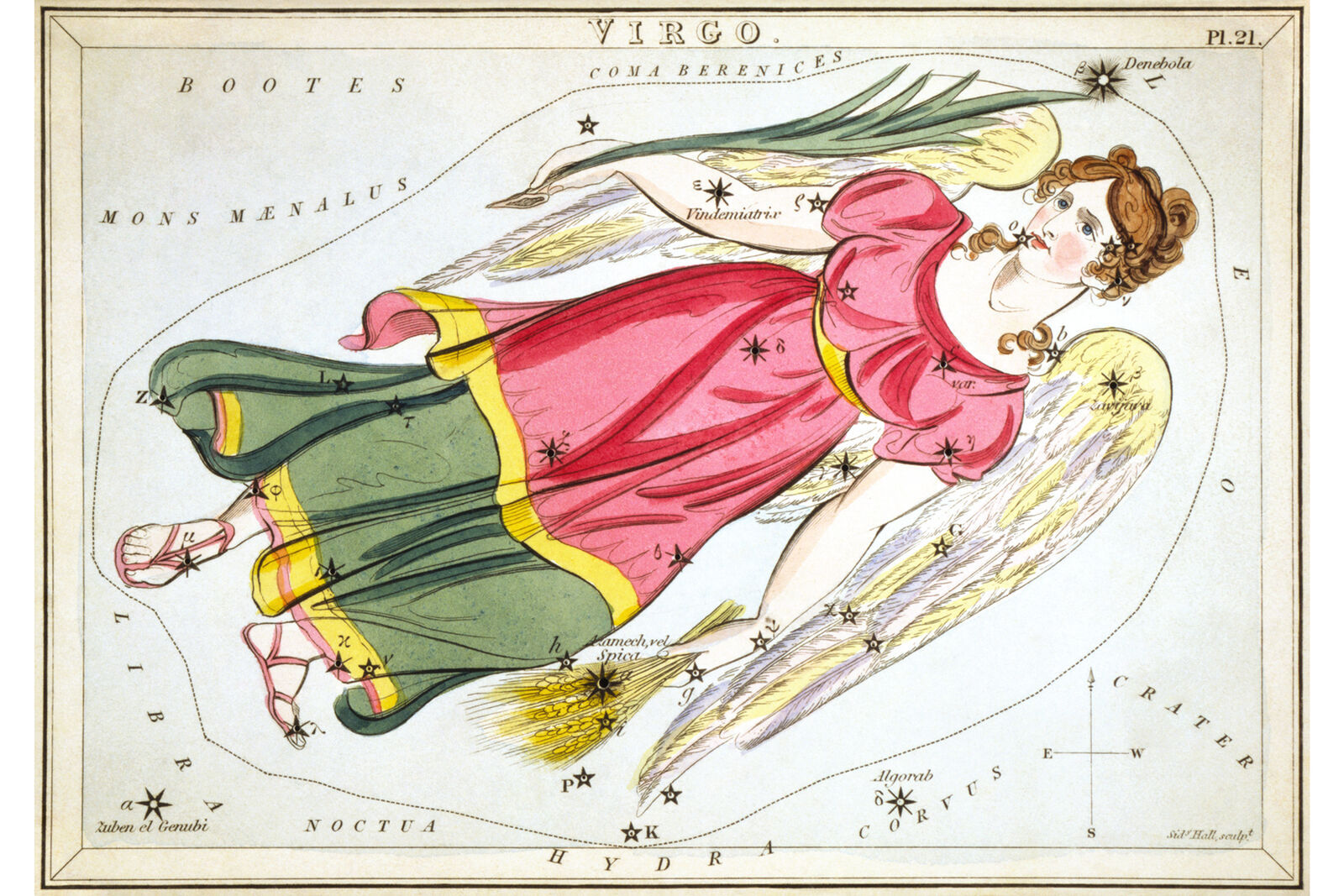 Virgo Constellation; Astrology Star Chart; Zodiac Engraving by Sidney Hall