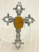 Brown Tiger's Eye Stone Silver Tone Cross Crucifix Necklace Pendant Vintage - $24.74