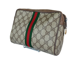Authentic GUCCI GG Pattern PVC Canvas Leather Browns Clutch Bag GP2033 - $189.00
