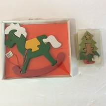 Vintage Wooden Christmas Puzzles Rocking Horse Bear Tree Holiday Puzzlers - $1.44
