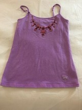 Girl's Size 8 Justice Solid Purple Jeweled Cami Tank Top Shelf Bra EUC - $15.00