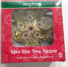 Merry Brite Mini Star Tree Topper NEW Gold with Red Lights - $6.38