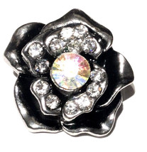 Antique Silver Clear Rhinestone Rose 20mm Charm Interchangeable For Ging... - $6.19