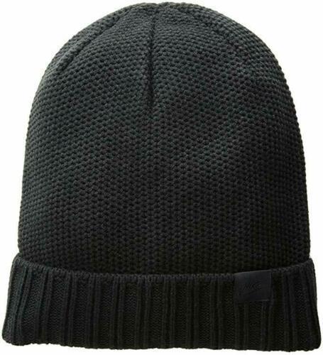 Nike Adult Unisex Cuffed Beanie Hat HoneyComb Knit One Size Black NEW