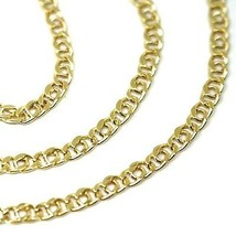 """18K YELLOW GOLD CHAIN TYGER EYE LINKS THICKNESS 3mm, 0.12"""" LENGTH 60cm, 23.6""""  image 2"""