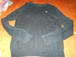 Express Mens Black SEXY 100% Cotton Long Sleeve Crew Neck Sweater Large ... - $17.81