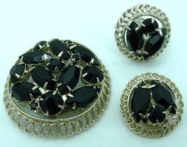 Vintage Brooch Earrings Set Black Glass w/Open Back Stones Silver Tone S... - $11.95