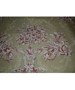 Pottery Barn Full Queen Duvet Cover Green Red Floral Roses  - $56.09