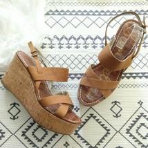 Sam Edelman Destiny Cork Platform Wedge Sandals Size 10 Cognac Brown Lea... - $37.99
