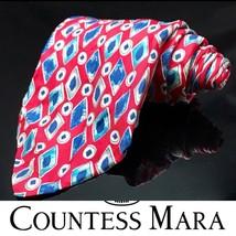 Countess Mara Red Gold White Geometric Classic Wide Silk Mens Neck Tie - $15.18