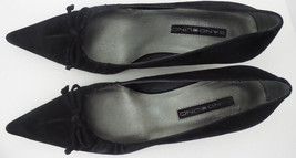 BANDOLINO Black Suede Bow Pointy Toes Classic Dressy Low Heels Size 7.5 M - $23.12