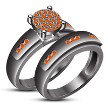 Round Cut Orange Sapphire 14k Black Gold Plated 925 Silver Engagement Ri... - $101.20