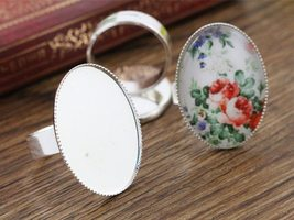 18x25mm 10pcs Light Silver Plated Brass Oval Adjustable Ring Settings - $18.49