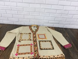 Oatmeal Leopard Storybook Knits Women M Cardigan Sweater Photo Holder Beads - $32.71