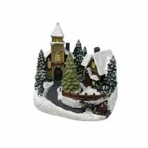 Led Light Up Festive Village Church Snow Scene Revolving Christmas Tree - $28.85