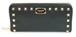 Michael Kors Purse Wallet Black Soft Pebbled Studded Leather Jet Set - $176.87