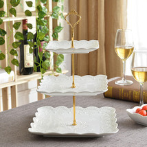 Three Layer Decorative Emboss Porcelain Tableware Craft Accessories Past... - $100.99