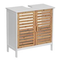 Bathroom Storage Cabinet Under Sink Unit Bamboo Door Shelves Wood Space ... - $114.22