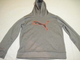 PUMA Pullover Hoodie Sweat Jacket Long Sleeves Front Pockets Gray M 10 12 - $12.49